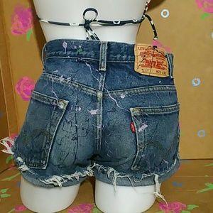 Vintage Levis 517 Cut Off Jean Shorts W29